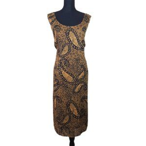 Dana Kay Brown Sleeveless Paisley Dress Size 16W